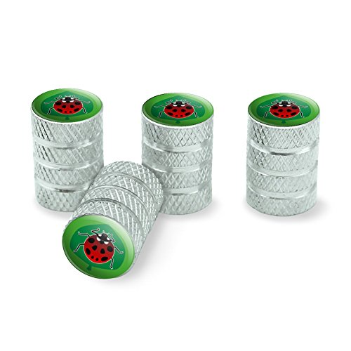 Red Ladybug on Green Leaf Ladybird Tire Rim Wheel Aluminum Valve Stem Caps - - Rim Green Leaf