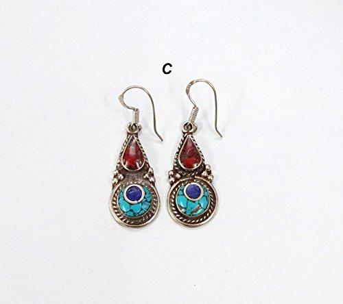 (Tibetan Blue Turquoise Earrings Red Coral Lapis Lazuli Vintage Designer Elegant Nepali Jewelry Handmade Long Earring Tribal Jewelry for Gift)