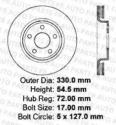 Front+Rear Kit 8 Ceramic Pads 5lug 4 Black Coated Cross-Drilled Disc Brake Rotors High-End Fits:- Jeep Dodge
