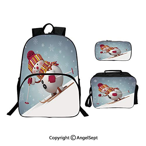 (Fashion Casual School Student Backpack,Skiing Snowman in 3D Style with Ornate Snowflakes Winter Outdoors Activity Fun Multicolor,Lightweight Daypack With Lunch Bag And Pencil Case For Girls)
