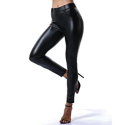 Fittoo Leather Pants Leggings Heart Shape PU Sexy Elastic Pant Womens Butt Lift Skinny Trousers -Black (XL)