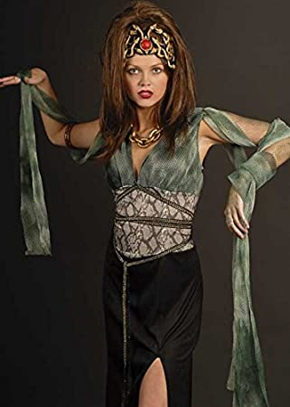 HALLOWEEN//GREEK GODDESS WOMENS FANCY DRESS MEDUSA COSTUME WITH SNAKE HEADPIECE