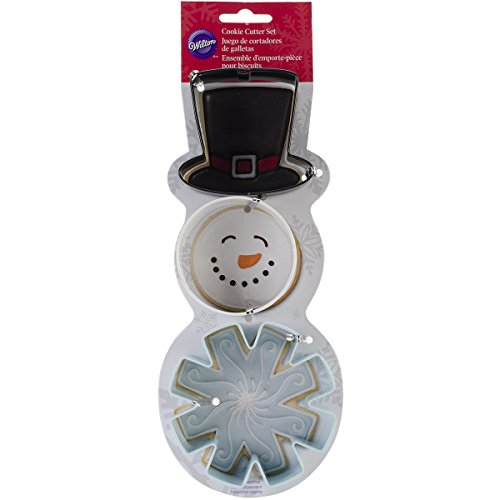 Wilton 2308-5072 3-Piece Christmas Snowman Metal Cookie Cutter Set ()