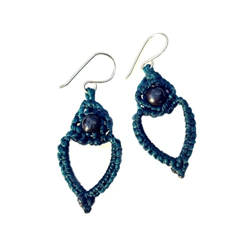 Heart Earrings in Turquoise Fiber and Sterling Silver with Hematite Stones: Handmade Lightweight Casual Macrame Earrings by Rumi Sumaq