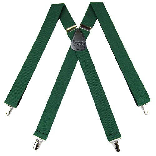 Buy Your Ties Solid Suspender for Men Made in USA X-Back Genuine Leather Trimmed clip end tuxedo suspenders Many solid colors available, Kelley Green, One Size