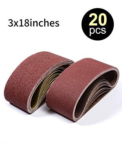 Sanding Belt 20 PCS Sander Belt 3x18-Inch, Aluminum Oxide (3 Each of 60, 80, 120,150,240,400 Grits, 2 of 40 Grits) SATC