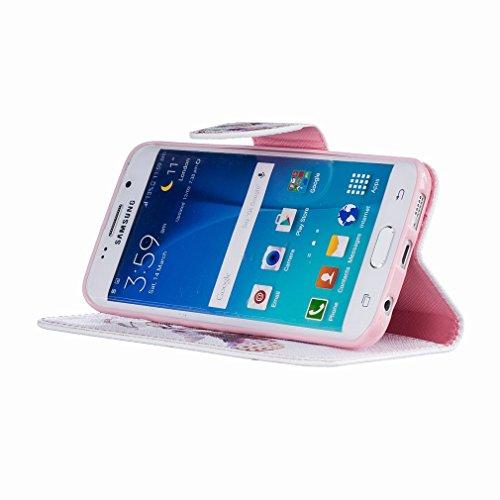 Yiizy Samsung Galaxy S6 Edge G925 Custodia Cover, Colore Campanula Design Sottile Flip Portafoglio PU Pelle Cuoio Copertura Shell Case Slot Schede Cavalletto Stile Libro Bumper Protettivo Borsa