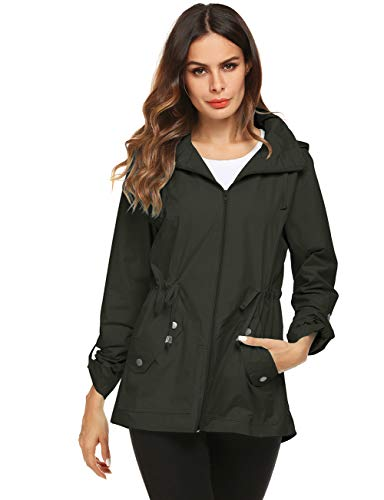 Avoogue Running Raincoat Women Winter Jacket Army Green Small