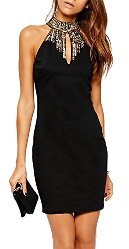 made2envy Halter Jeweled Neckline Bodycon Mini Dress (M, Black) C21884MBL (Dress Black Jeweled)