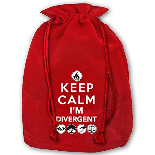 NYSOUVENIRS Bag Keep Calm I'm Divergent Merry Christmas Drawstring Beam Port Canvas Storage Bag Gift Bag Hometom - Divergent Supplies Birthday Party