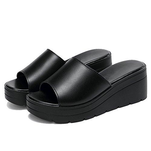 Plataforma de Negro Verano de Zapatillas Zapatillas Cuña de Zapatillas Mujer Opcional 2 para Tacón Alto Moda Elegir de Zapatillas Colores de Sandalias de Tamaño LHA 58WPvSnxP