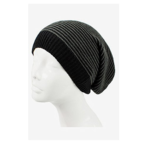 AN Knit Hat Slouch Beanie Cap Black & Charcoal Striped Lightweight All Day Wear (Pattern Bag Slouch)