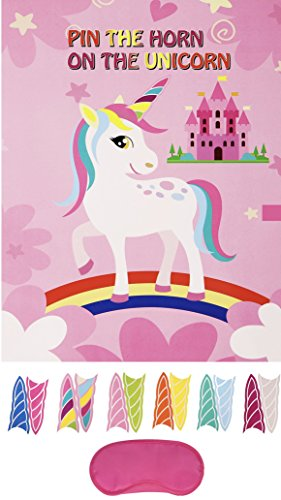 Unicorn Party Unicorn Girl's Birthday Game Pin The Horn On The Unicorn Party Supply with Pink Blindfold and Horn Stickers