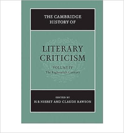 Book The Cambridge History of Literary Criticism: Volume 4, the Eighteenth Century