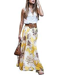 Woman's summer beach flower print high waist fold chiffon...