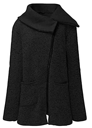 Macondoo Women's Fashion Outerwear Coat Fleece Oblique Zipper Jacket Black XS