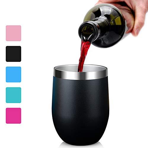 Arteesol Vasos de Vino al Aire Libre aislados, 350ml (12oz) de vacío con Tapas Doble Pared de Acero Inoxidable Vasos irrompibles para Acampar Piscina de la ...