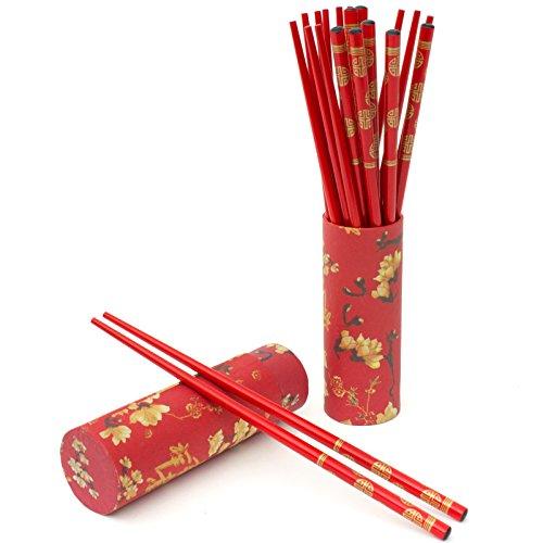 Oriental Furniture 10 Pair Wood Chopsticks Set - Red