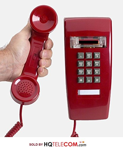 Industrial Wall Phone with Dialpad & Wallplate - RED by HQTelecom Analog Consumer Telephone