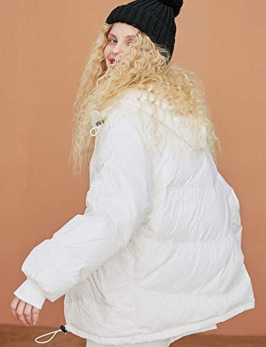Broche Saco Blanco Reflectante Duvet Collar Cinta Overol Extragrande Mujer Dobladillo Elfo Cremallera De Invierno Ajustable Bloqueo qZqw7Y