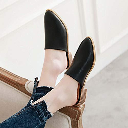 Americanas Fuera Mujer Tacón Europeas Sandalias Ocio De Black Y Zapatillas Zapatos Rsheng Baotou Talla Grande Bajo xqEOHz0cw