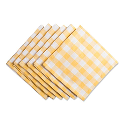 "DII Oversized 20x20"" Cotton Napkin, Pack of 6, Yellow & White Check - Perfect for Spring, Fall, Thanksgiving, Dinner Parties, Weddings, Showers or Everyday Use"