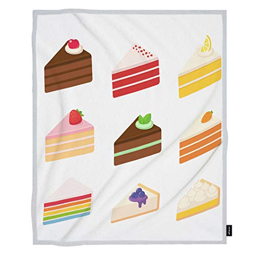 oFloral Cheesecake Throw Blanket Layered Sponge Cakes Fruit Chocolate Cheesecake Pie Decorative Soft Warm Cozy Blankets for Baby Toddler Dog Cat Home Decor for Bed Chain Sofa Couch 30x40 Inch ()