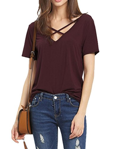 Haola Women's Summer Cross Front Tops Deep V Neck Casual Teen Girls Tees T Shirts S WineRed