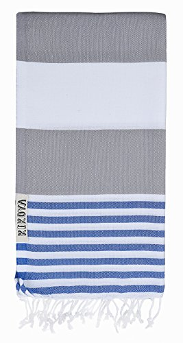 "Mediterranean Stripe Style 100% Cotton, Pestemal Turkish Towel 39""x70"" Generous Size Turkish Towel Beach Bath Spa Yacht Gym Sport Peshtemal Sarong Hammam Towel Kikoy Fouta (Gray - Blue)"