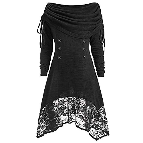 Orangeskycn Women Pullover Ruched Long Foldover Collar Tunic Top Plus Size ...