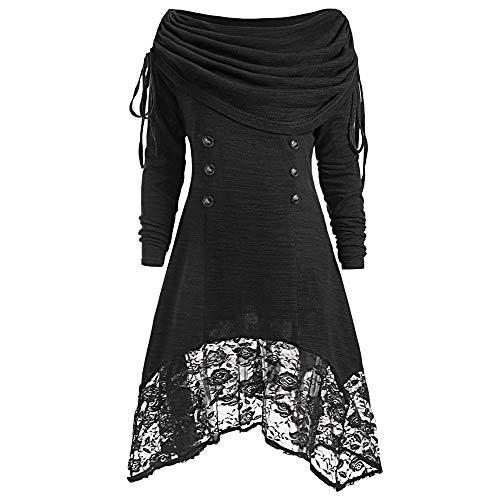 Women's Dresses Youngh Claerance Lace Plus Size Buttons Patchwork Ruched Foldover Fashion A-Line Party Mini Dress Black
