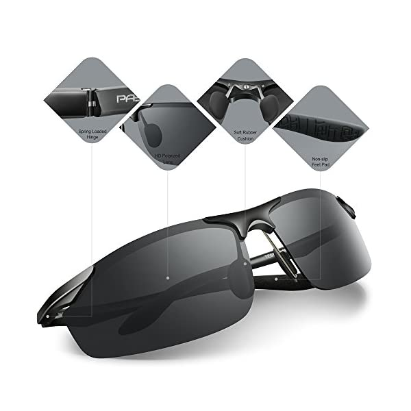 bf0d005923 PAERDE Men s Driving Polarized Sunglasses for Men Al-Mg Metal Frame Ultra  Light