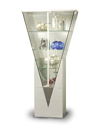 Incroyable Chintaly Imports Triangular Curio Cabinet With Mirrored Interior,  Clear/White