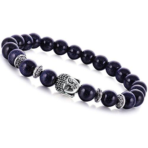Joya Gift Natural Blue Gold Stone 8MM Round Beads Buddha head Gemstone Chakra Bracelet for Women Charms Men Jewelry
