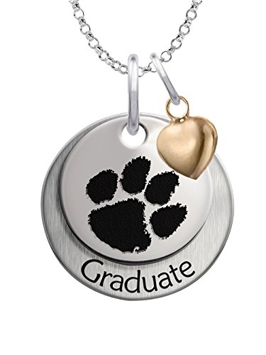 Clemson University Tigers GRADUATION Necklace Sterling Silver Stacked Charm with Heart Accent (Clemson Tigers Sterling Silver Charm)
