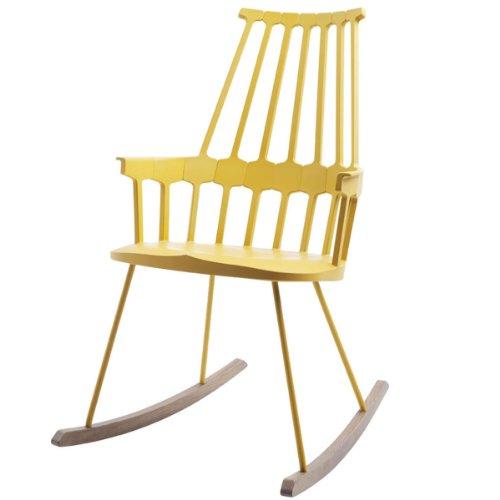 Kartell 595606 Comback Schaukelstuhl 58 x 100 x 58 cm Sitzhöhe 44 cm Sitzflächenfarbe Schaukelteil Eiche, gelb