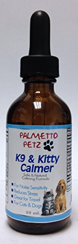 Palmetto Petz Best Dog and Cat Calming Aids K9 and Kitty Calmer All Natural Liquid Supplement to Relax Nervous and Hyper Behavior Stress Relief for Your Pet