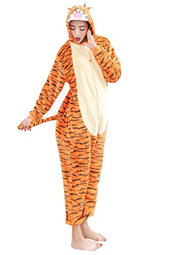 [I'MQueen Adult Tigger One Piece Animal Cosplay Costume Cartoon Pajamas Fleece] (Tigger Costume Teenager)