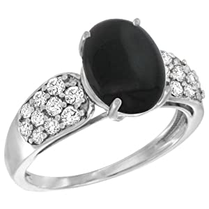14k White Gold Natural Black Onyx Ring Oval 10x8mm Diamond Accent, 7/16inch wide, size 7