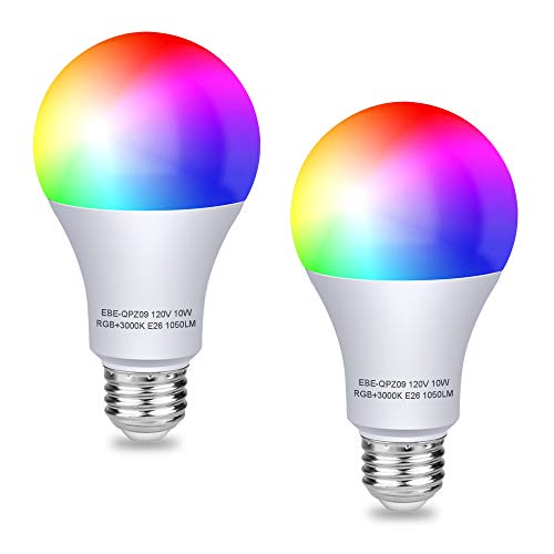 Aigital WiFi LED Bulbs,Color Changing Bulb Smart Light Bulb Multicolor Dimmable Day&Night Light Work with Amazon Alexa and Google Assistant No Hub Required(Voice Control,Remote Control)(2 Pack)