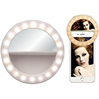 Selfie Ring Light Selfie Light Selfie Clip on Light Rechargeable Round Phone Light with Make-up Mirror [40LED] For iPhone Samsung Galaxy Photography Video