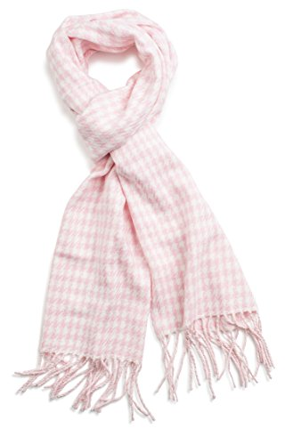 xurious Classic Cashmere Feel Winter Scarf (Pink Houndstooth) ()