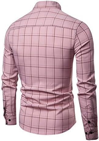 メンズシャツ、スリムフィット長袖チェック柄のビジネスチェックカジュアルドレスダウン襟ボタンダウンスーツ英国スタイリッシュ (色 : 白, サイズ : XL)