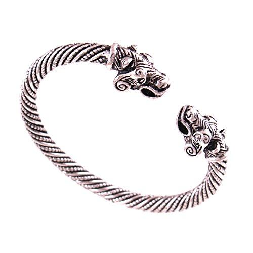 Double Dragon Bracelet - FAIRY ELVEN Mens Double Dragon Head Viking Bracelet Steel Braided Cable Bangle Cuff Bracelet Stainless Steel Slive Polished Adjustable