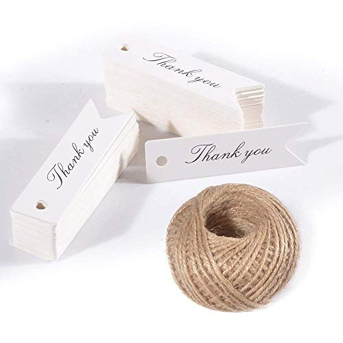 Thank You Gift Tags,100PCS''Thank You''Printed Gift Tags,Small Kraft Paper Hang Labels, Thanksgiving Craft Tags for Wedding or Father's Day Favors with 100 feet Jute Twine (White) ()