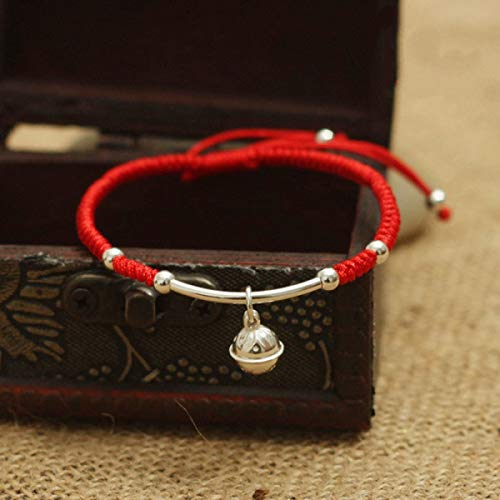 - 925 Silver Bracelet Silver Bracelet 925 Sterling Silver Bell Bracelet Amulet Handmade Lucky Red Rope Bangle Jewelry