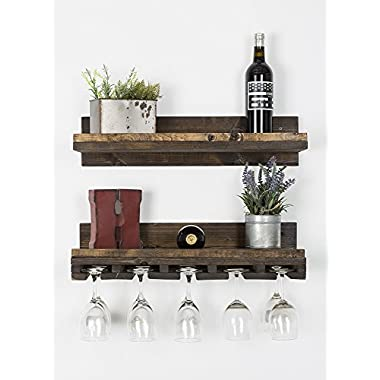 Rustic Luxe - handmade rustic wood floating shelf / glass rack combo, perfect for kitchen, bar, or dining rooms (Pine Set 2, 24 W x 6 H x 10 D)