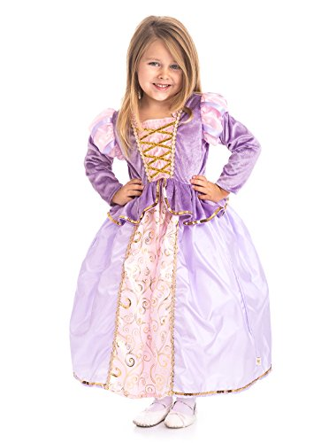 [Little Adventures Traditional Classic Rapunzel Girls Princess Costume - Large (5-7 Yrs)] (Princess Tiana Disney Costume)