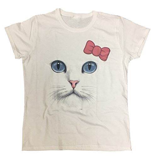 ace Women's T-shirt (XXX-Large, White/pink bow) (Face Womens Cut T-shirt)