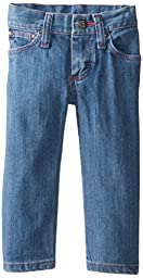 Wrangler Baby Girls\' Five Pocket Styling with Embroidery and Patch Jean, Baby Blue, 18 Months